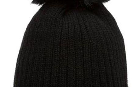 Černá čepice Woolk s kamínkovým páskem a černou bambulí