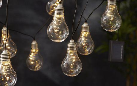 STAR TRADING Světelný LED řetěz na solární napájení Glow, černá barva, čirá barva, plast