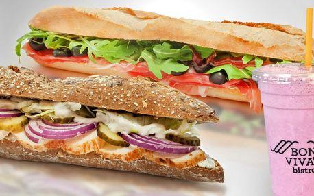 Bageta nebo sendvič s kávou, freshem či smoothie