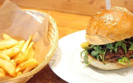 Burger s BBQ krkovicí a hranolky pro 1 i 2 osoby