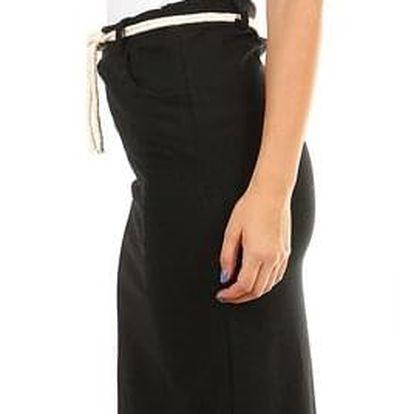 Dámská bavlněná midi sukně s rozparkem černá