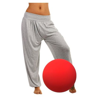 Dámské jednobarevné harémové kalhoty červená