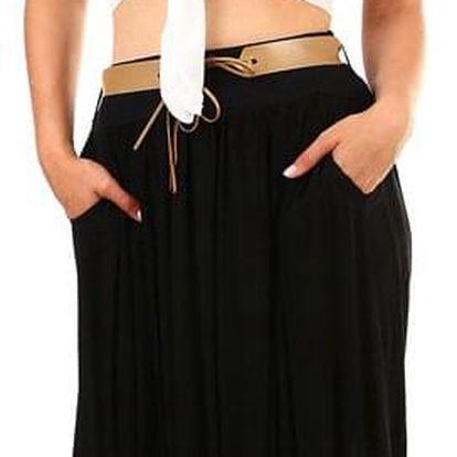 Dámská romantická maxi sukně s kapsami černá