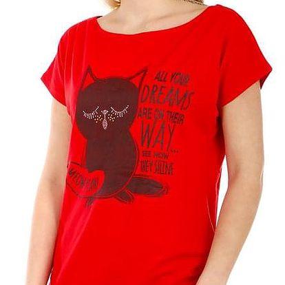 Dámské tričko s potiskem červená