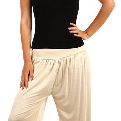 Dámské jednobarevné harémové kalhoty béžová