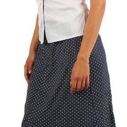 Dámská retro puntíkovaná midi sukně- i pro plnoštíhlé modrá
