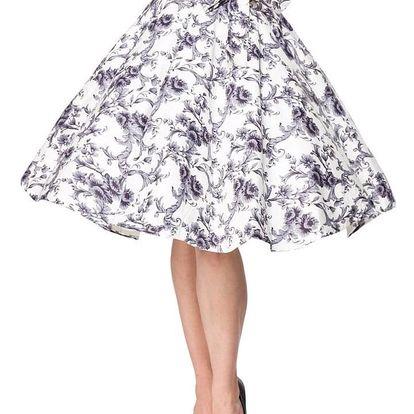 Vintage kolová sukně s potiskem bílá
