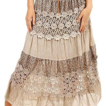 Dámská maxi sukně s krajkou béžová