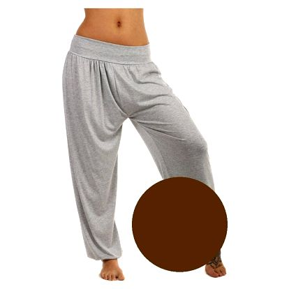 Dámské jednobarevné harémové kalhoty tmavě hnědá