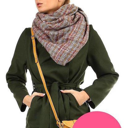 Kostkovaný hřejivý maxi šátek světle růžová