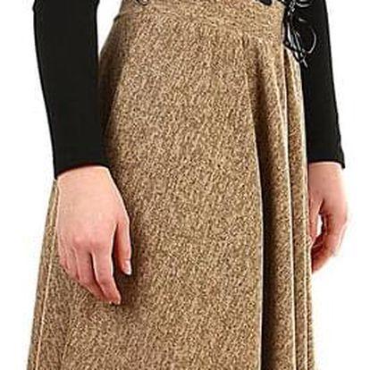 Jarní/podzimní dámská áčková sukně ke kolenům světle hnědá