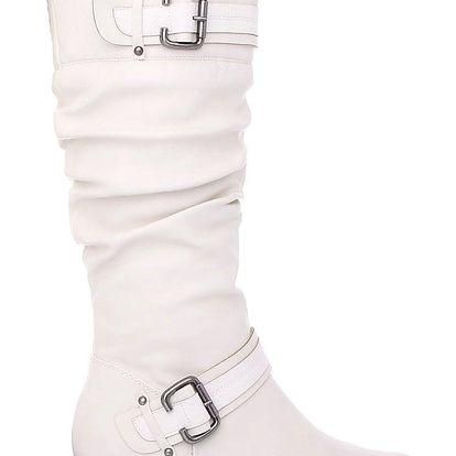 Ctogo GOGO Bílé kozačky s pleteninou 301-2WH Velikost: 38 (24 cm)