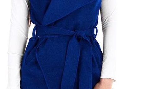 Dámská vesta se širokým límcem a páskem modrá