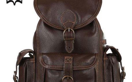 Malý tříkapsový batoh z pravé kůže - Česká výroba tmavě hnědá