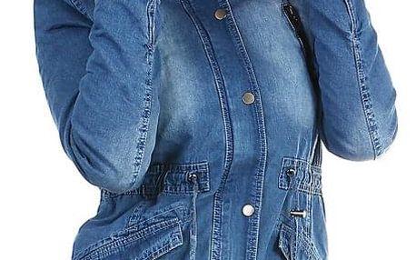 Dámská zateplená džínová bunda s kapucí modrá