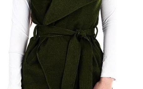 Dámská vesta se širokým límcem a páskem khaki