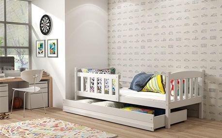 Dětská postel KUBUS 1 80x160 cm, bílá/bílá Pěnová matrace