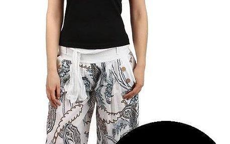 Pohodlné turecké kalhoty se vzorem černá