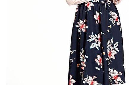 Květovaná retro sukně bílá