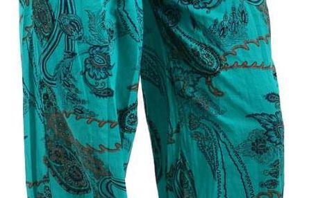 Pohodlné turecké kalhoty se vzorem zelená