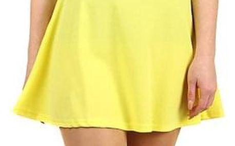 Jednobarevná dámská krátká sukně žlutá