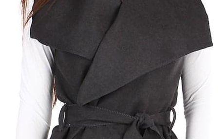 Dámská vesta se širokým límcem a páskem tmavě šedá