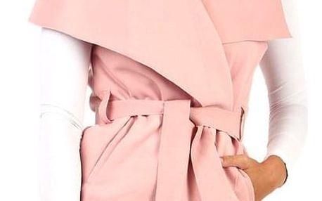 Dámská vesta se širokým límcem a páskem světle růžová