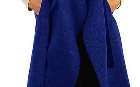 Dámská jednobarevná vesta s páskem modrá