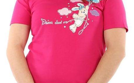 Jednobarevná noční košilka s potiskem tmavě růžová