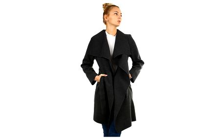 Zavinovací dámský kabát s páskem tmavě šedá