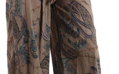 Pohodlné turecké kalhoty se vzorem hnědá
