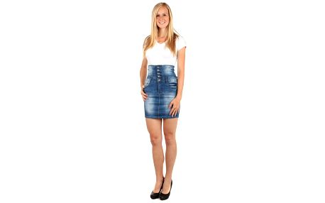 Dámská riflová sukně s vysokým pasem modrá