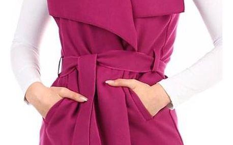 Dámská jednobarevná vesta s páskem fialová