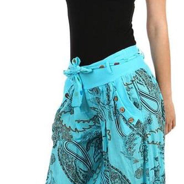 Pohodlné turecké kalhoty se vzorem tmavě modrá4