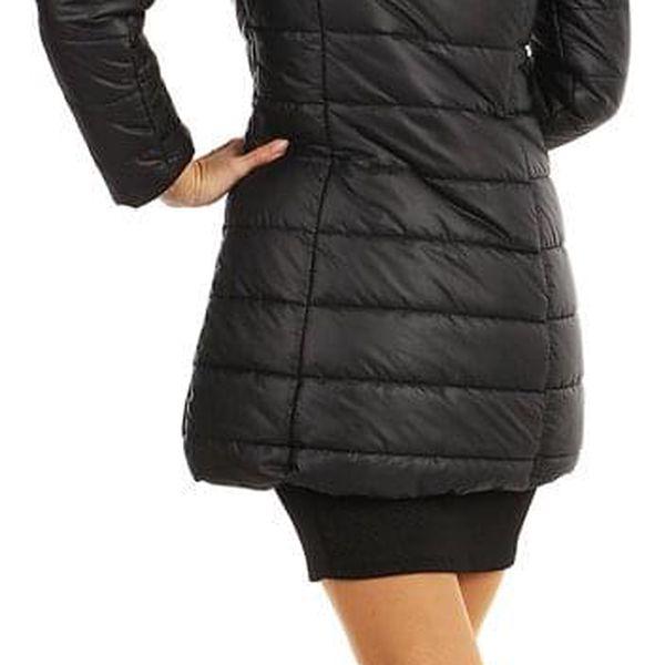Dlouhá dámská bunda s kožíškem černá2