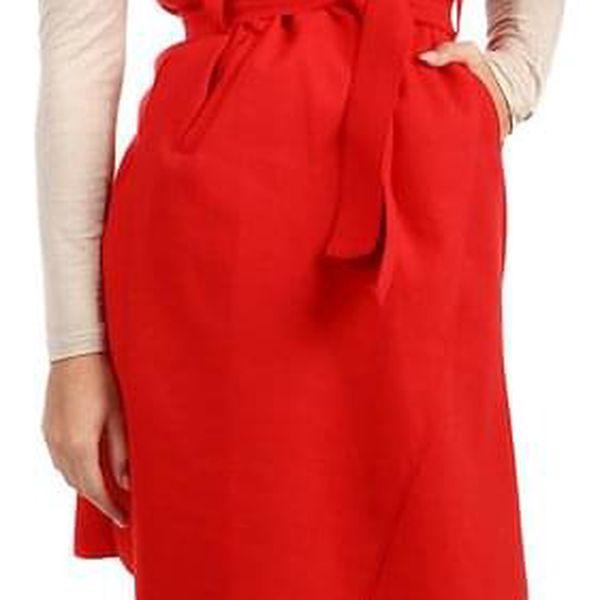 Dámská jednobarevná vesta s páskem červená