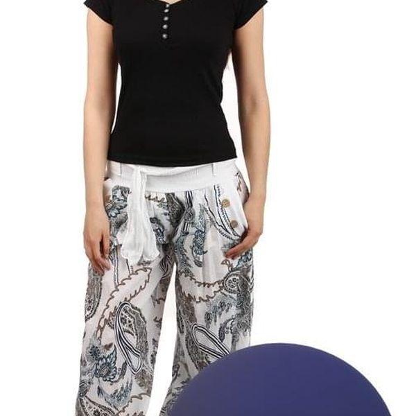 Pohodlné turecké kalhoty se vzorem tmavě modrá