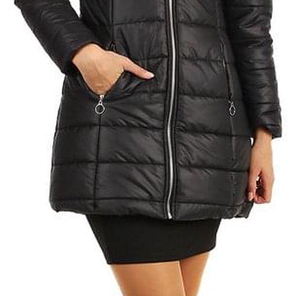 Dlouhá dámská bunda s kožíškem černá