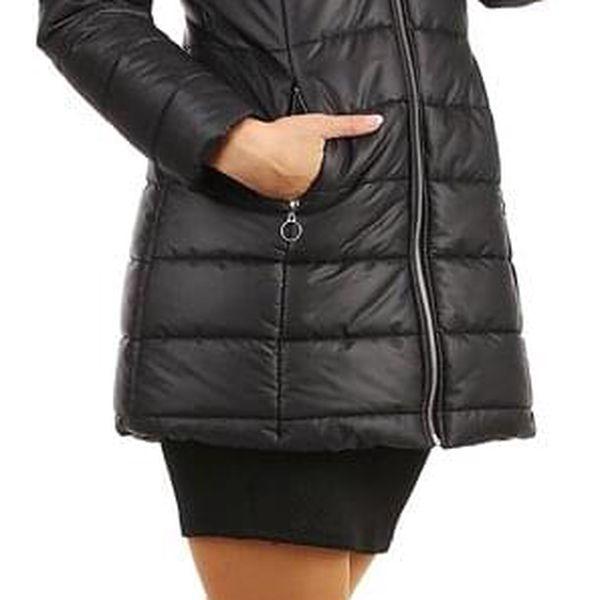 Dlouhá dámská bunda s kožíškem černá3