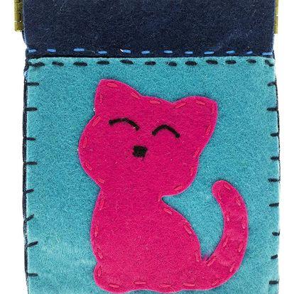 Fashion Icon Peněženka Růžová kočka flísová na magnet