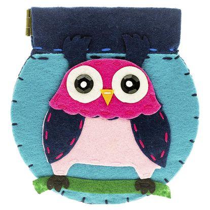 Fashion Icon Peněženka Sova kulatá flísová na magnet