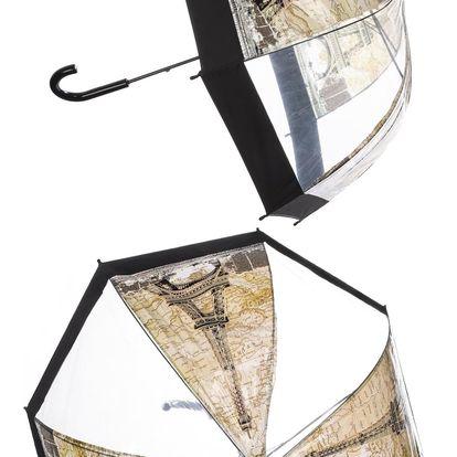 Deštník Paříž Eiffelova věž hnědý
