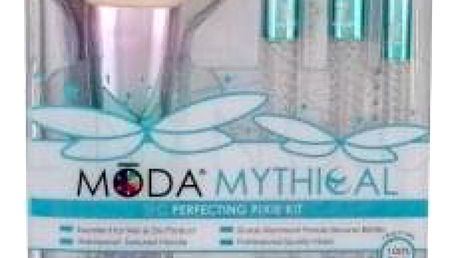 Royal & Langnickel Moda Mythical Perfecting Pixie dárková kazeta pro ženy štětec na pudr 1 ks + štětec na rozjasňovač 1 ks + štětec na oční stíny 1 ks + štětec na linku 1 ks + cestovní pouzdro