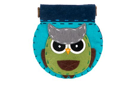 Peněženka HANDMADE Angry sova flísová modrá