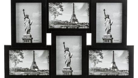 Fotorámeček Panorama na 6 fotografií, černá
