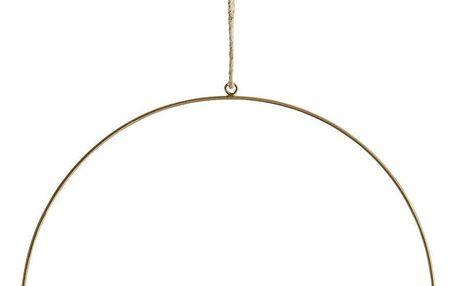 MADAM STOLTZ Závěsný mosazný dekorativní kruh 30 cm, zlatá barva, kov