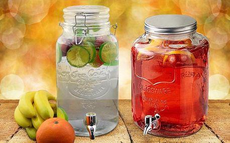 Skleněné nádoby s kohoutkem o objemu 4 či 8 litrů