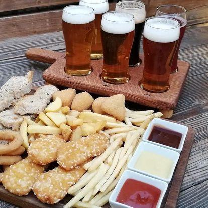 6 druhů piv, přílohy, sýr i nugetky pro 2 i 4 os.
