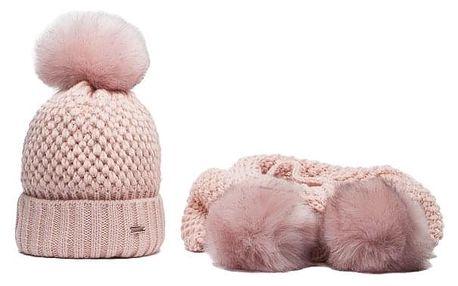 SET: Růžová čepice a šála Mico