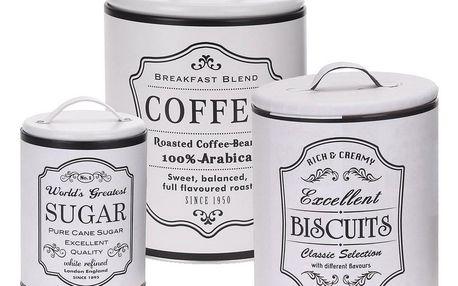 Koopman Sada dóz na kávu, sušenky a cukr, bílá